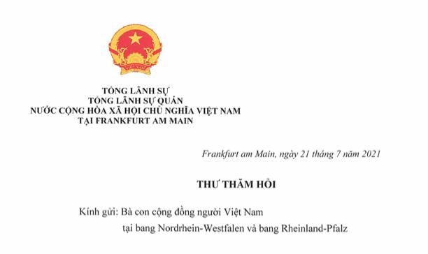 TLSQ Việt Nam tại Frankfurt/M gửi thư thăm hỏi bà con người Việt tại vùng lũ