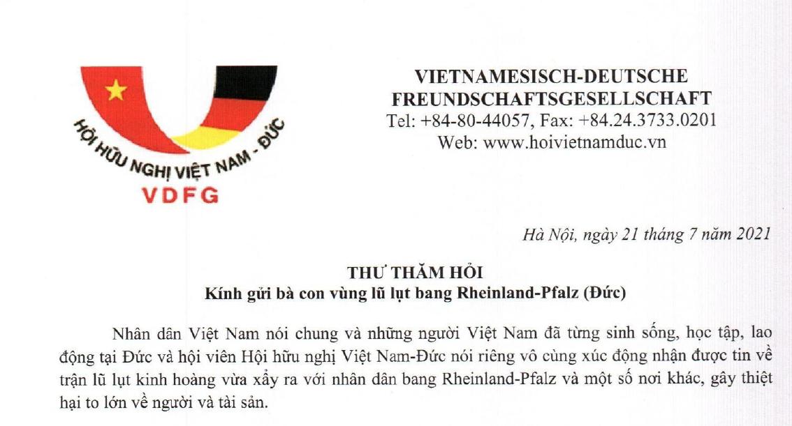 Hội hữu nghị Việt Nam–Đức gửi thư thăm hỏi bà con vùng lũ ở 2 bang